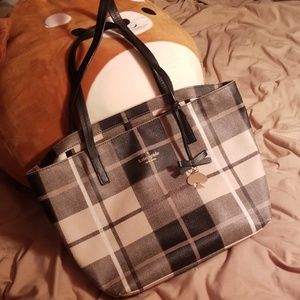 Kate Spade Ryan bag in pale pink and black plaid